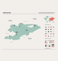 Map kyrgyzstan high detailed country vector