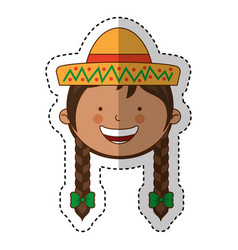mexican little girl character vector image