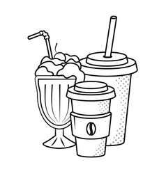 milk shake coffee and soda black and white vector image