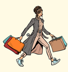 Modern woman with shopping bags vector