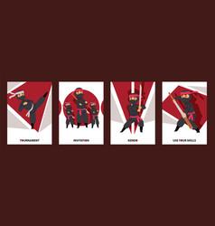 Ninja characters warrior with swords cards vector