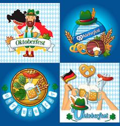 Octoberfest banner concept set cartoon style vector