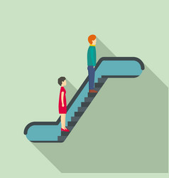 people at escalator icon flat style vector image