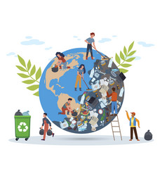 people clean planet globe in mountain of vector image