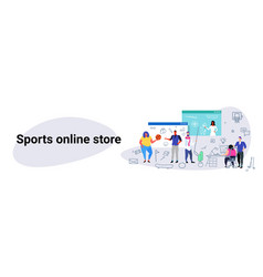 People doing online shopping sports store concept vector