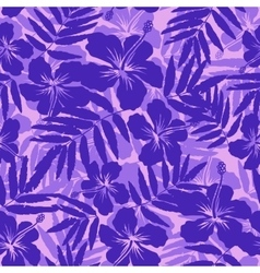 Purple tropical flowers silhouettes seamless vector image