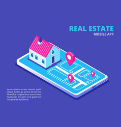 real estate mobile app isometric house on vector image