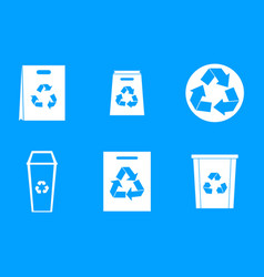 recycle material icon blue set vector image