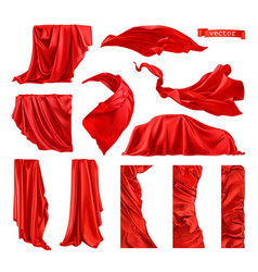 Red curtain image drapery fabric 3d realistic set vector