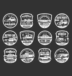 Retro cars service motor show symbols vector