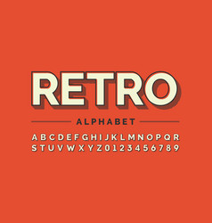 retro style font design alphabet letters and vector image