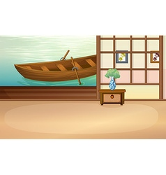 Rowboat floating outside the house vector image