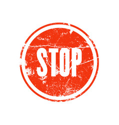 rubber stamp with the word stop vector image