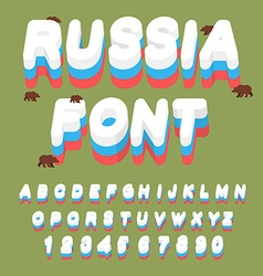 Russian font Russian flag on letters National vector image