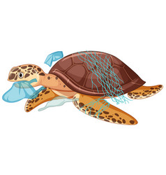 Sea turtle and plastic bags on white background vector
