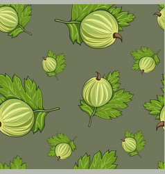 Seamless pattern hand drawn gooseberry vector