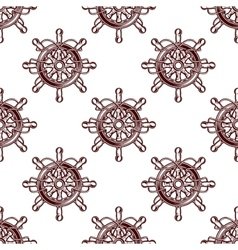 Seamless pattern of an old-fashioned ships wheel vector