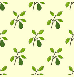 seamless pattern with hand drawn avocado branch vector image
