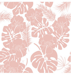 Seamless tropical pattern with pink monstera vector