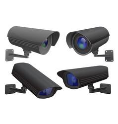 Security camera set black cctv surveillance vector