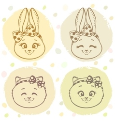 Set bunny and cat vector