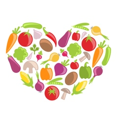 Set Colorful Vegetables in Heart Shape vector image