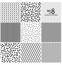 set of eight geometric seamless patterns vector image