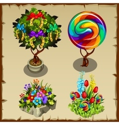Set of plants with horseshoes caramel and other vector image