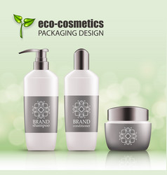 set of realistic green glass bottles eco cosvetic vector image