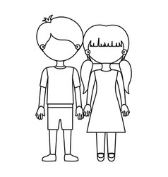 Sketch silhouette faceless couple girl with vector