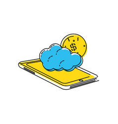 smartphone with cloud and money vector image