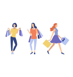 stylish girls with shopping bags vector image