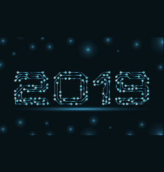 text 2019 made in circuit texture template vector image