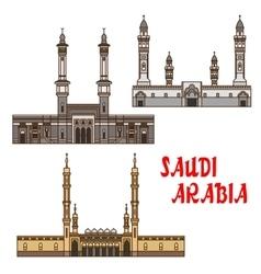 Travel landmarks saudi arabia icon with mosques vector