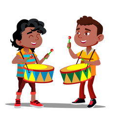 two little afro american boys beating the drums vector image
