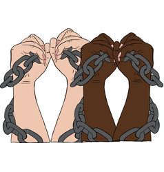 two pairs of hands with white and black skin are vector image