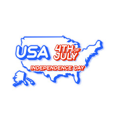 usa 4th july independence day with map and vector image