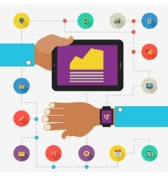 Wearable technology concept SEO monitoring app vector image