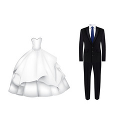 wedding dress and suit vector image