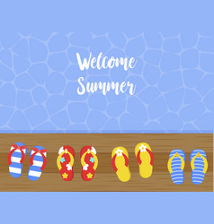 Welcome summer flip flops on wooden terrace vector