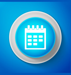 white calendar icon isolated on blue background vector image