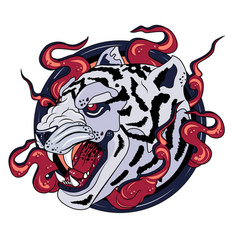 White tiger print logo vector