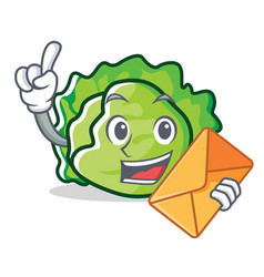 With envelope lettuce character cartoon style vector