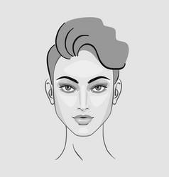 Woman face eyes hairstyle makeup for beauty vector