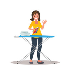 woman housewife iron clothes on an ironing board vector image
