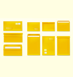 Yellow envelopes with stamps blank paper covers vector