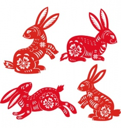 Chinese zodiac rabbit vector image vector image