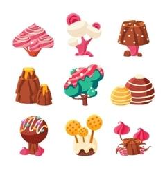 Fantasy Sweet Trees Set vector image vector image