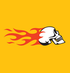 flaming skull retro hot rod motorcycle design vector image vector image