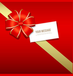Gift box gold and red ribbons white card vector image vector image